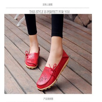 Hang-Qiao Flats Shoes Women Loafers Ladies Slip on Shoes (Red) - intl - 2