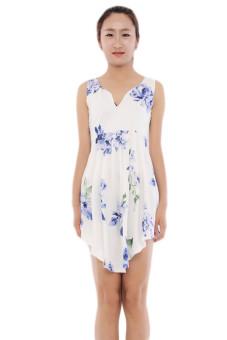 Hang-Qiao Flower Printed Dress (White)