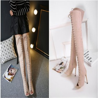 Hang-Qiao High Bangdage ROM Boots Sexy High-Heeled Shoes (Apricot) - intl - 5