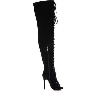 Hang-Qiao High Bangdage ROM Boots Sexy High-Heeled Shoes (Black) - intl - 5