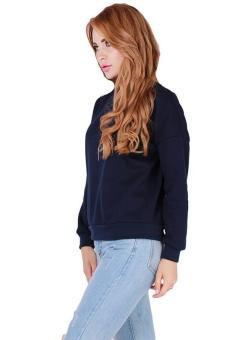 Hang-Qiao Korean Latest Hoodies O-neck Sports Sweatshirt Navy