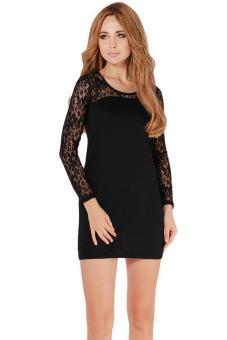 Hang-Qiao Lace Splicing Sexy Dresses Slim Formal Dress Black