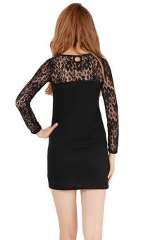 Hang-Qiao Lace Splicing Sexy Dresses Slim Formal Dress Black - picture 2