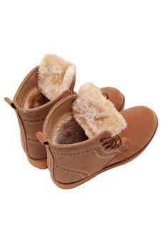 Hang-Qiao Lovers Unisex Martin Boots Winter Snow Warm Shoes Khaki - 5