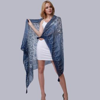 Hang-Qiao New Fashion Accessories Women Silk Scarf Tassel Shawls Blue - Intl - 3