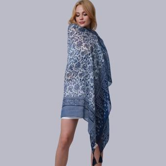 Hang-Qiao New Fashion Accessories Women Silk Scarf Tassel Shawls Blue - Intl - 4