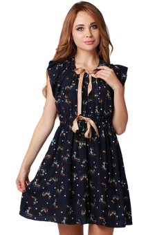 Hang-Qiao Short Pleated Dress (Black) - picture 2