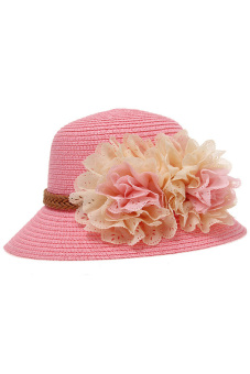 HANG-QIAO Summer Flower Straw Hat (Pink) - picture 2