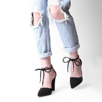 Hang-Qiao Thick Heels Ankle Strap Suede Sandals High-heeled PointedPumps (Black) - intl