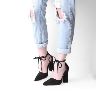 Hang-Qiao Thick Heels Ankle Strap Suede Sandals High-heeled PointedPumps (Black) - intl - 4