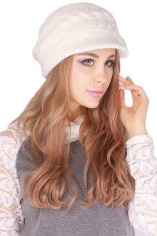 Hang-Qiao Warm Women Knitted Beret Hat Autumn Winter Cap White - 2