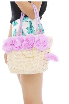Hang-Qiao Women 5-Flowers Bags Straw Woven Handbag Purple