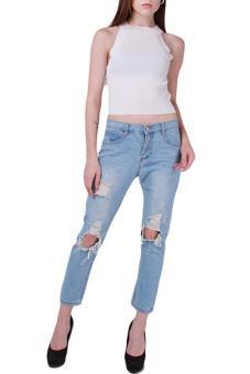 Hang-Qiao Women Denim Jeans Big Hole Ripped Designer Pants Blue - picture 2