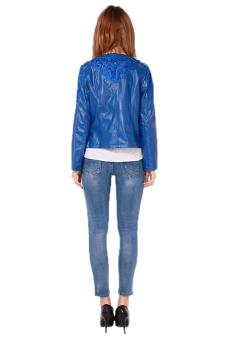 Hang-Qiao Women Lace PU Leather Jacket Coat (Blue)