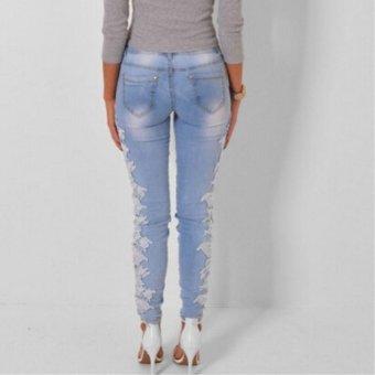 Hang-Qiao Women Lace Splice Jeans Denim Pencil Pants Slim Lightblue - intl - 2