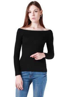Hang-Qiao Women Sexy Long Sleeve Knitwear Boat Neck Black