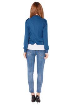 Hang-Qiao Women Stand Collar Short Coat Tops Blue - picture 2