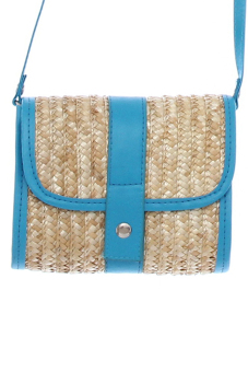 Hang-Qiao Women Straw Woven Bags Summer Casual Blue