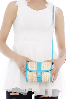 Hang-Qiao Women Straw Woven Bags Summer Casual Blue - picture 2