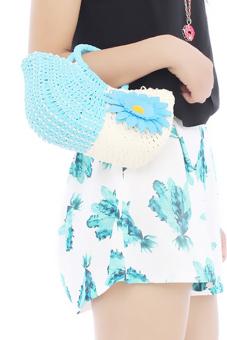 Hang-Qiao Women Sunflower Bags Straw Woven Bags Blue