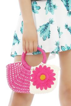 Hang-Qiao Women Sunflower Bags Straw Woven Bags Hot Pink