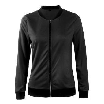 HangQiao Women Jackets Long Sleeve Shawl Neck Plain Causal Coat(Black) - intl - 2