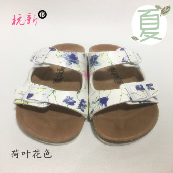 Hangxin Korean-style men women's slip sandals cork slippers (Two buckle lotus leaf flower rubber bottom)