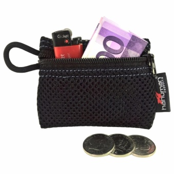 HANUMAN single-zipper wallet coin money purse pouch ( Black )