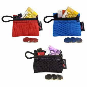 HANUMAN single-zipper wallet coin money purse pouch set of 3 (red blue black)