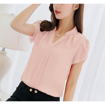 Hanyu 2017 Spring and Summer Korean-style Women Casual Chiffon Short Sleeve V-neck Shirt Plus Size Blouse Top (Pink) - intl