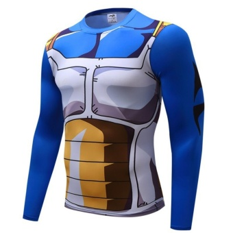 Hanyu 3D Printing Seven Dragon Ball Wukong Men 's Compression Sports Fitness Tight T- shirt(Blue) - intl