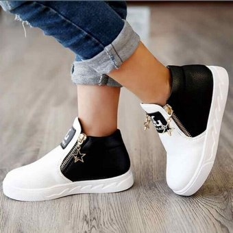 Hanyu Autumn PU Leather Solid Zipper Flat Shoes for Children White - 2