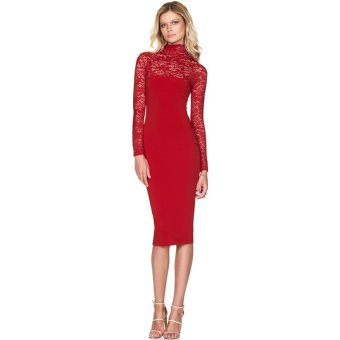 Hanyu Floral Sexy Lace Long Sleeve Dress for Women Ladies Red