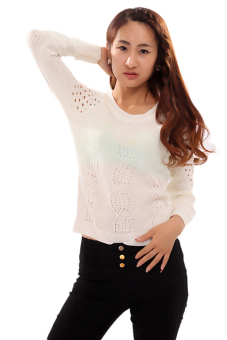 Hanyu Hollow Sweater Round Collar Long Sleeve White - picture 2