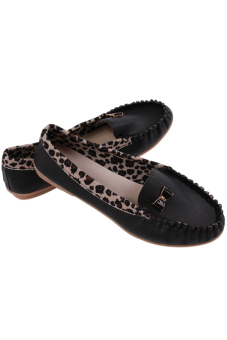 Hanyu Leopard Grain Doug Shoes Soft Leather Flat Shoes (Black)