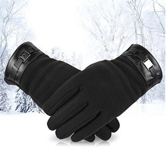 Hanyu Men's Winter Warm Gloves Touch Screen Gloves Smartphone Texting Stretch Full Finger Adult Gloves Black - intl