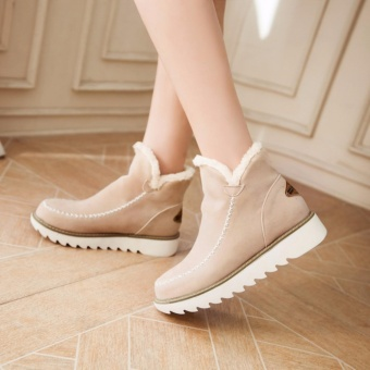 Hanyu New Fashion Women's Winter Thick Snow Boots Plus CottonWithin Higher Boots Warm Boots (Beige) - intl Price Philippines