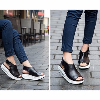 Hanyu New Style Fashion Women's Shake Shoes Summer Fish Mouth Sandals Leather Wedge Shoes Non-slip Platform Shoes with Magic Sticker (Black) - intl - 5