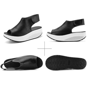 Hanyu New Style Fashion Women's Shake Shoes Summer Fish Mouth Sandals Leather Wedge Shoes Non-slip Platform Shoes with Magic Sticker (Black) - intl - 4