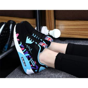Hanyu Print Sports Fashion Casual Heeled Travel Shoes for Women Black Blue - 3