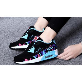 Hanyu Print Sports Fashion Casual Heeled Travel Shoes for Women Black Blue - 2