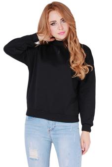 Hanyu Students Hooodies Girls Pullovers O-Neck Black