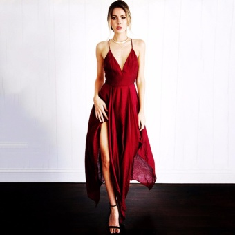 Hanyu Summer Women Fashion Backless Strapless Beach Long Party Casual Dress Deep V Neck Sleeveless Sexy Dress (Red) - intl