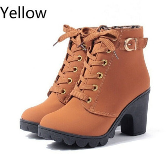 Hanyu Thick PU Leather High Heel Zipper Martin Ankle Boots for Women Yellow - 2