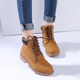 Hanyu Winter Shoes PU Leather Patchwork Strapped Flat Fashion Women Boots Yellow - 4