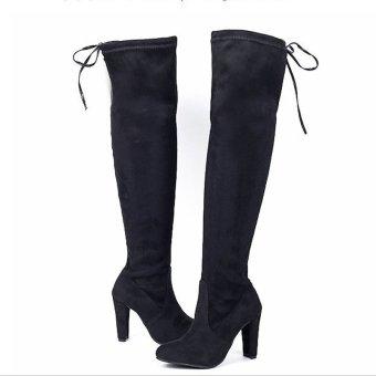 Hanyu Women Fashion Solid High Heel Suede Knee Long Boots Black - intl - 4