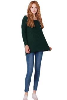 Hanyu Women Loose Sweater O-Neck Green