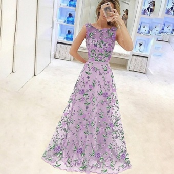 Hanyu Women Newest Formal Luxury Elegant Embroidery Evening DressBridesmaid Floor Length Dress (Purple) - intl