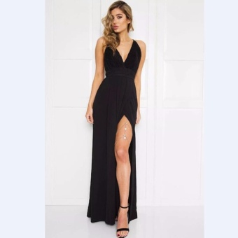 Hanyu Women Sexy Satin Strapless Dress V-Neck Fashion Long Party Dresses (Black)