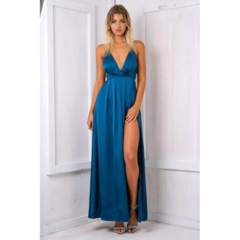 Hanyu Women Sexy Satin Strapless Dress V-Neck Fashion Long Party Dresses (Lake Blue)